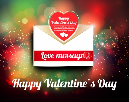 bokeh message: Valentine mail message with heart and bokeh background