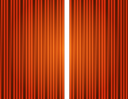 Curtain orange closed, open with light spots in a theater Vector