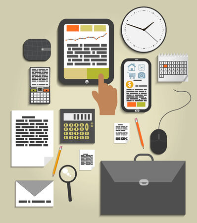 Workplace office and business work elements set. Mobile devices and documents Vector