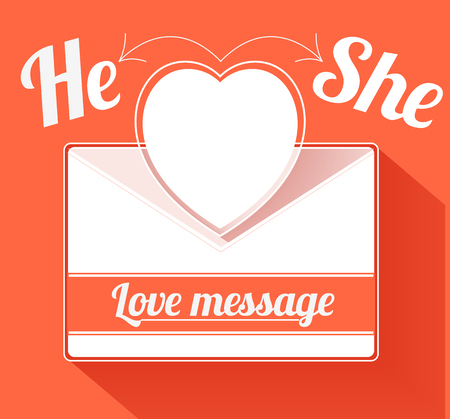 hello heart: Valentine mail message with heart hi and she