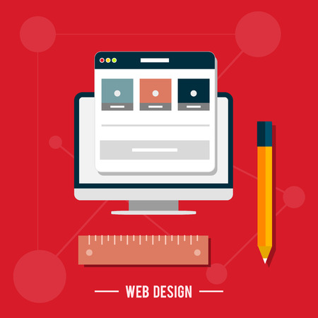 per: Icons for web design, seo, social media and pay per click internet advertising in flat design Illustration