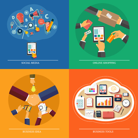 purchasing:  Icons for web design, seo, social media, online shopping, business idea, business tools