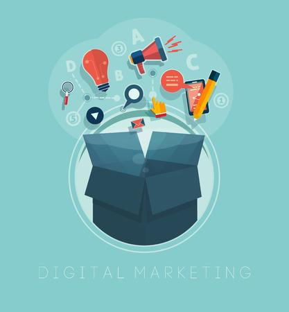 メディアをテーマにカラフルなアプリケーション アイコンの雲付きボックスします。デジタル マーケティングの概念。