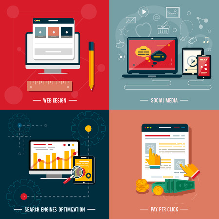 Icons for web design, seo, social media and pay per click internet advertising in flat design Illustration