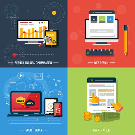 klik: Pictogrammen voor web design, seo, social media en pay per click reclame op het internet in vlakke bouwvorm Stock Illustratie