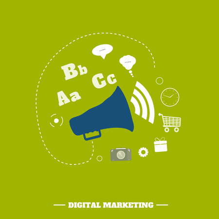 Digital marketing concept. Flat design stylish megaphone with application icons Vector