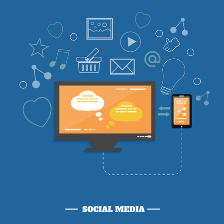 Business software and social media networking service concept Vector
