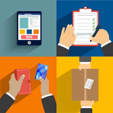 Business concept. Set of hands clients purchasing Vector