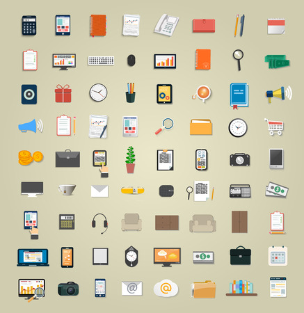 Set of various financial service items, business management symbol, marketing items and office equipment