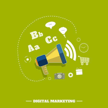 Digital marketing concept. Flat design stylish megaphone with application icons