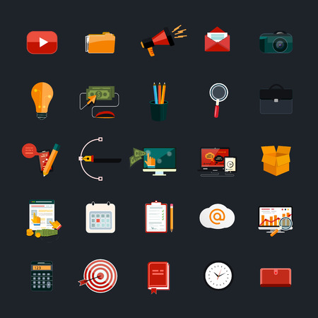 design objects: Web design objects, business, office and marketing items icons.