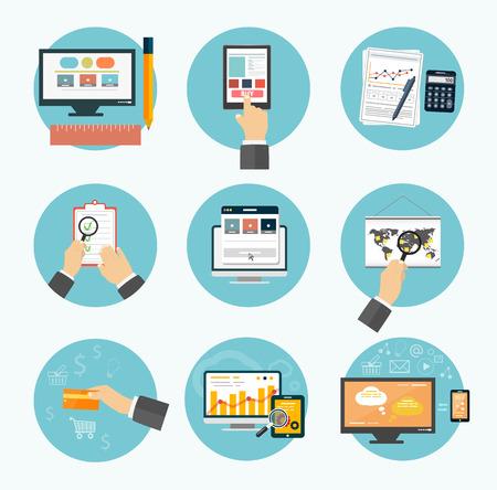 articulos oficina: Artículos objetos de diseño Web, negocios, oficinas y comercialización iconos. Vectores