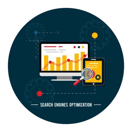 SEO-Optimierung, Programmierung und Web-Analyse-Prozess-Elemente