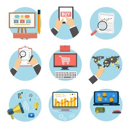 Web-Design-Objekte, Business-, B�ro-und Marketing-Positionen Symbole. Illustration