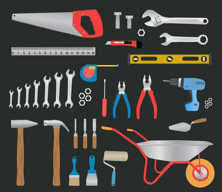 Modern hand tools. instruments collection for metalwork, woodwork, mechanical and measuring works. Vector