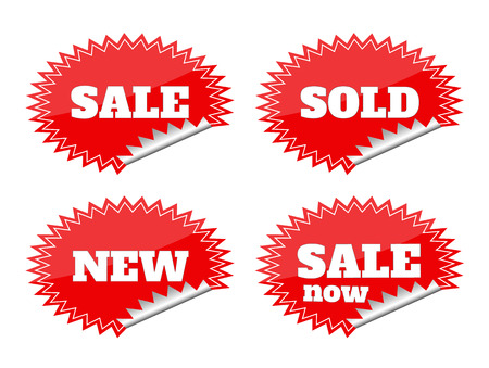Set of red seals stickers with sale text Vector