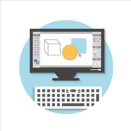 Computer monitor with the screen of the program for design and architecture in flat design Illustration
