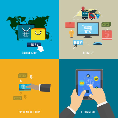 checkout: Icons for online shop, e-commerce, payment methods and delivery in flat design