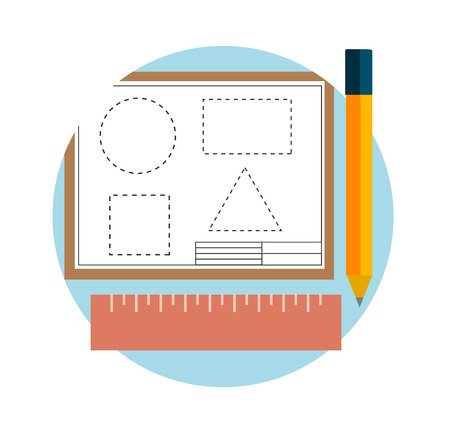 architectural team: Elements and instruments for design and architecture in flat design