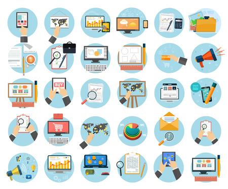 Artículos objetos de diseño Web, negocios, oficinas y comercialización iconos. Vectores