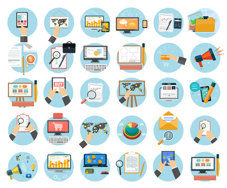 design web: Web design objects, business, office and marketing items icons.