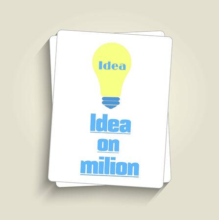 lightbulb idea: Lampadina concept idea design piatto e lunga ombra Vettoriali