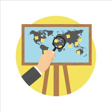 projector screen: Schermo del proiettore treppiedi mappa del mondo e la nota