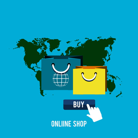 Business online icons. Poster concept with icons of buying product via online shop and e-commerce ideas symbol and shopping elements in flat design Illustration