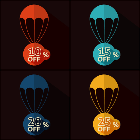 Set of parachutes with discount on black background Vector