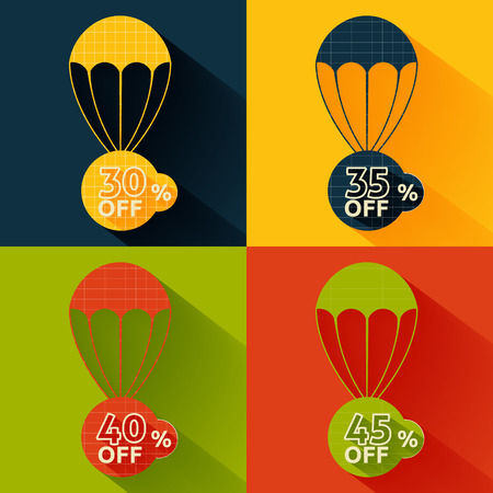 Set of parachutes with discount on multicolor background Vector