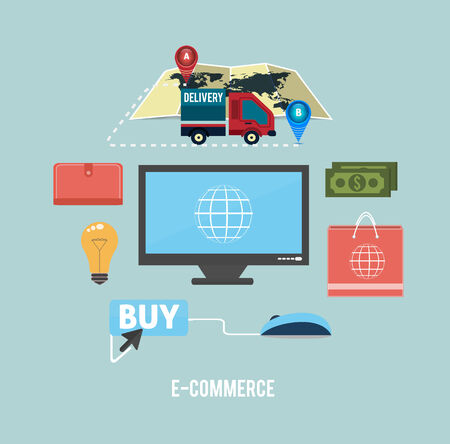 ecommerce icons: E-commerce infographic concept of purchasing product via internet, mobile shopping communication and delivery service Illustration
