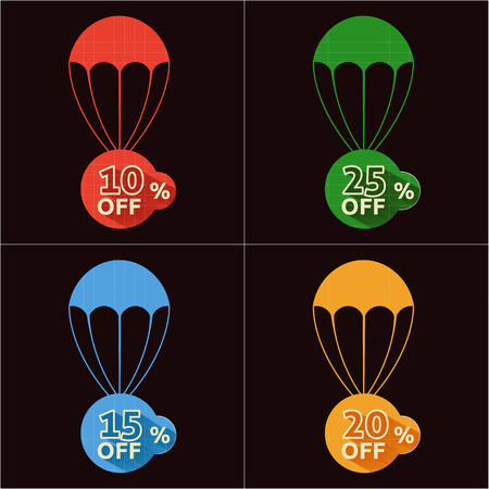 Discount parachute with text of the size of the discount Vector