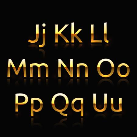 Golden alphabet set 2. Golden characters collection Vector