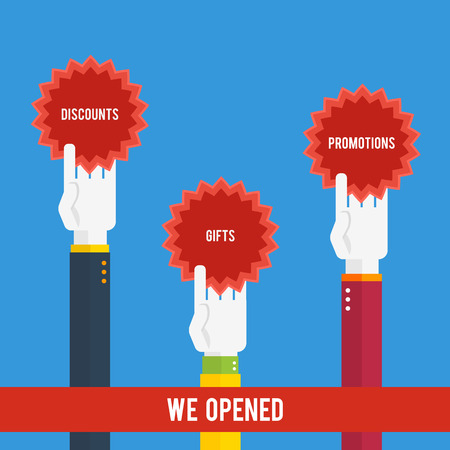 Grand opening - hands holding stickers with text Vector