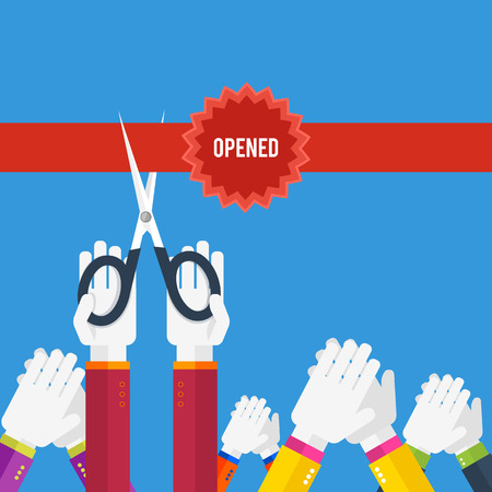 soon: Grand opening - hands cutting red ribbon with text opened