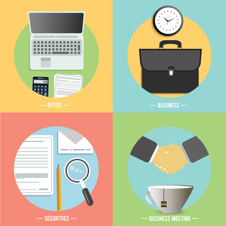Web design objects, securities, business, office and marketing items icons. Vector