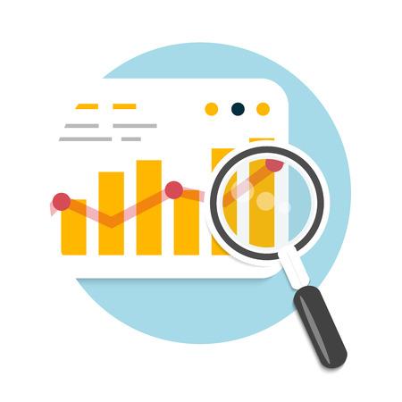 Lupe und Diagramm. Business-Konzept der Analyse Illustration