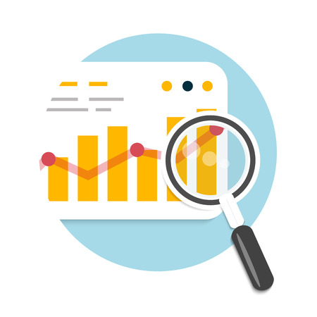 stat: Magnifying glass and chart. Business concept of analyzing