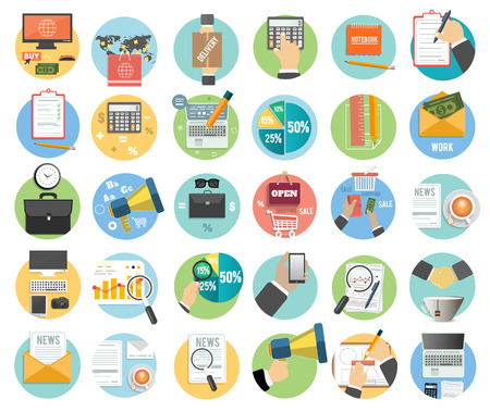 design objects: Web design objects, delivery, business, office and marketing items icons.