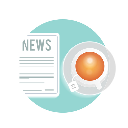 Daily newspaper with a cup of tea, coffee on a table Vector