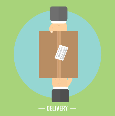 Delivery box and two hands. Delivery service 24 hours. Cargo truck symbol Vector