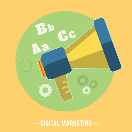 Hand holding a yellow megaphone. Digital marketing concept. Flat design stylish megaphone with application icons Vector