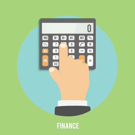 considers: Calculator icon. Business concept businessman considers on the calculator
