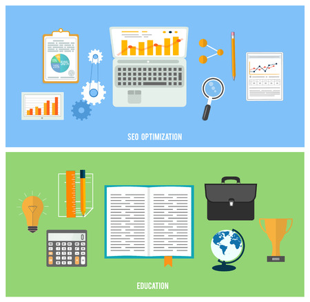 Web design objects, seo optimization, business, office and education items icons.