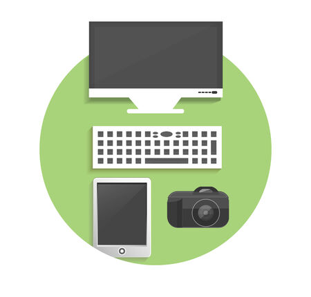 Business, office and marketing items icons concept on table. Vector