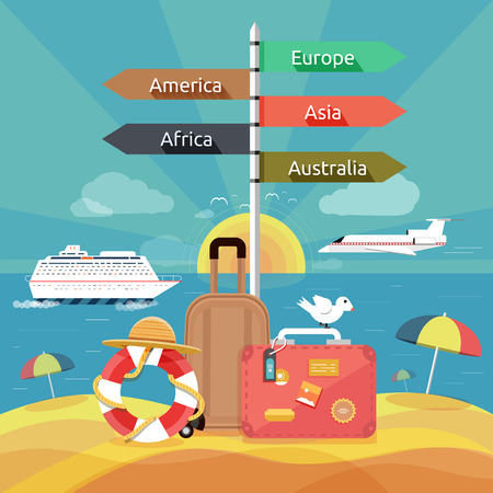 vacation summer: Icons set of traveling, planning a summer vacation, tourism and journey objects and passenger luggage in flat design. Different types of travel. Business travel concept