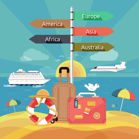 bagagli: Set di icone di viaggio, pianificazione di una vacanza estiva, il turismo e gli oggetti di viaggio e bagagli dei passeggeri in design piatto. Diversi tipi di viaggio. Concetto di viaggio d'affari