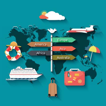 Icons Set von Reisen, planen einen Sommerurlaub, Tourismus und Reise Objekte und Passagiergep�ck in flacher Bauform. Verschiedene Arten von Reisen. Gesch�ftsreisen Konzept Illustration