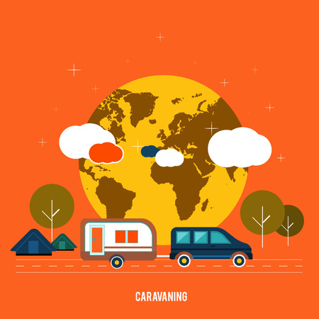 caravans: Caravaning near the tree  Caravaning tourism  Icons of traveling, planning a summer vacation, tourism and journey objects