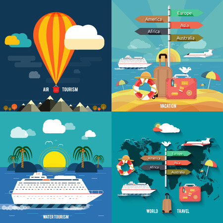 Icons set of traveling, planning a summer vacation, tourism and journey objects and passenger luggage in flat design Different types of travel Business travel concept